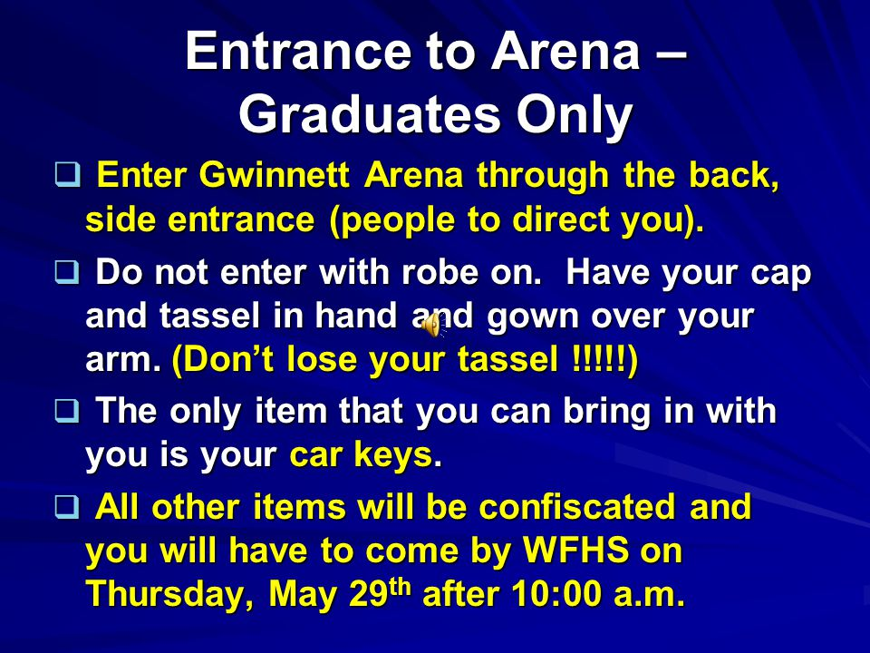 Parking & Entrance Everyone (graduates and guests) will enter the Gwinnett Arena property off of Satellite Blvd.