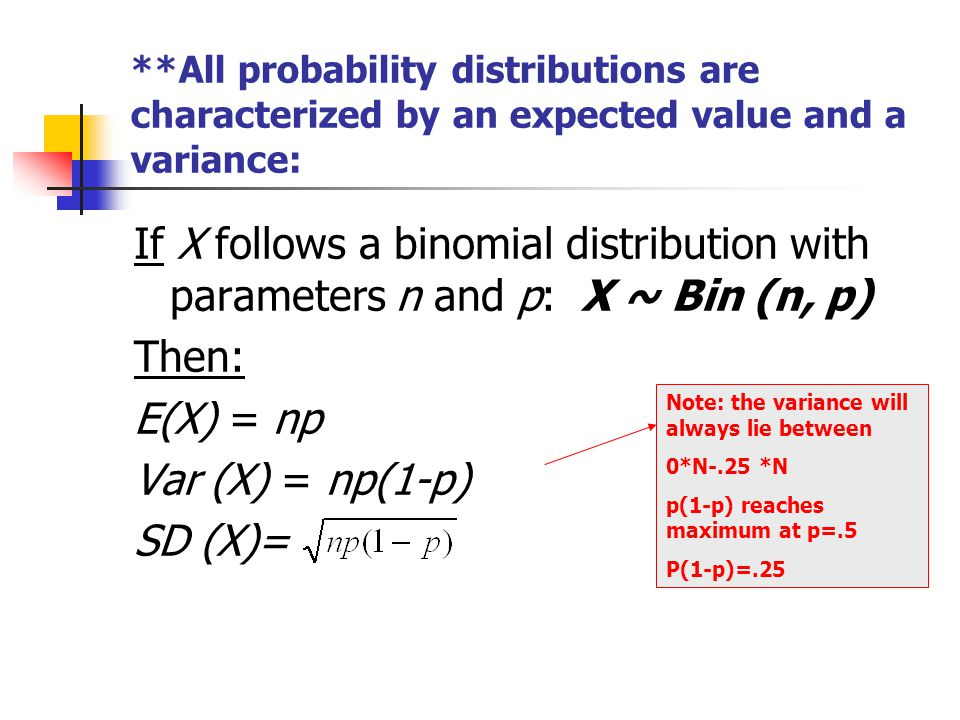 **All probability distributions are characterized by an expected value and a variance: If X follows a binomial distribution with parameters n and p: X ~ Bin (n, p) Then: E(X) = np Var (X) = np(1-p) SD (X)= Note: the variance will always lie between 0*N-.25 *N p(1-p) reaches maximum at p=.5 P(1-p)=.25
