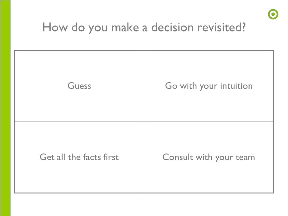 How do you make a decision revisited? GuessGo with your intuition Get all the facts firstConsult with your team
