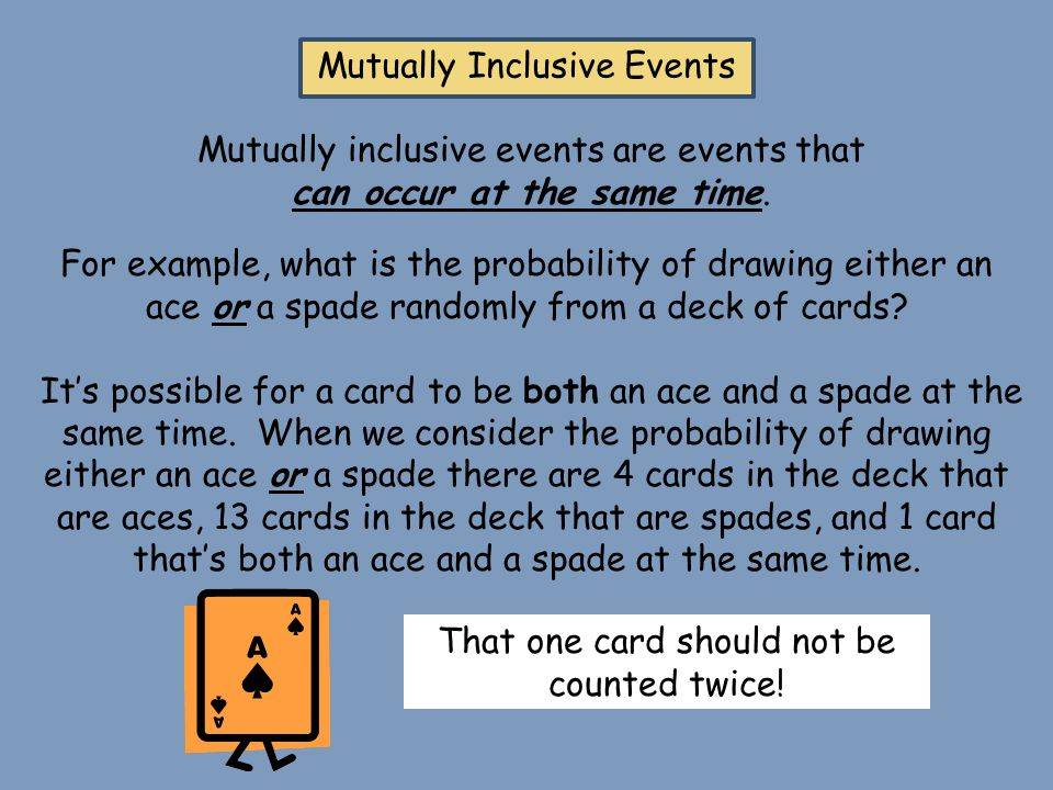 Mutually Inclusive Events Mutually inclusive events are events that can occur at the same time. For example, what is the probability of drawing either