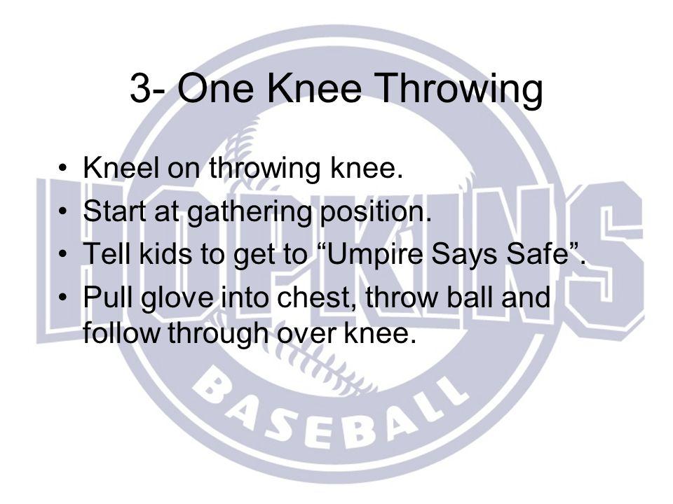 3- One Knee Throwing Kneel on throwing knee.Start at gathering position.