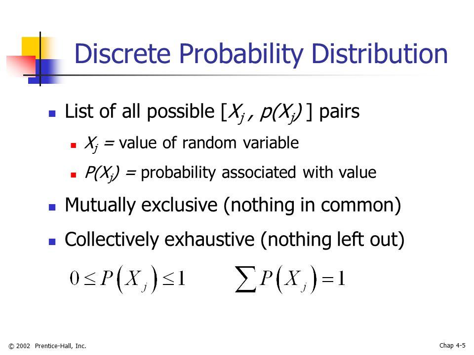 © 2002 Prentice-Hall, Inc. Chap 4-5 Discrete Probability Distribution List of all possible [X j, p(X j ) ] pairs X j = value of random variable P(X j