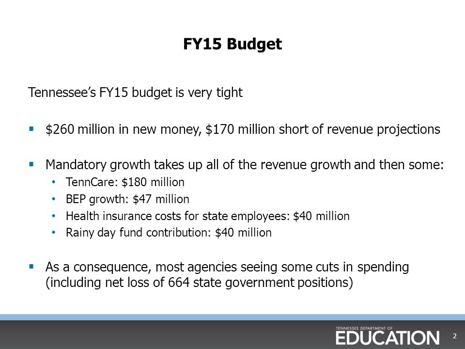 FY15 Budget Tennessee's FY15 budget is very tight  $260 million in new money, $170 million short of revenue projections  Mandatory growth takes up a