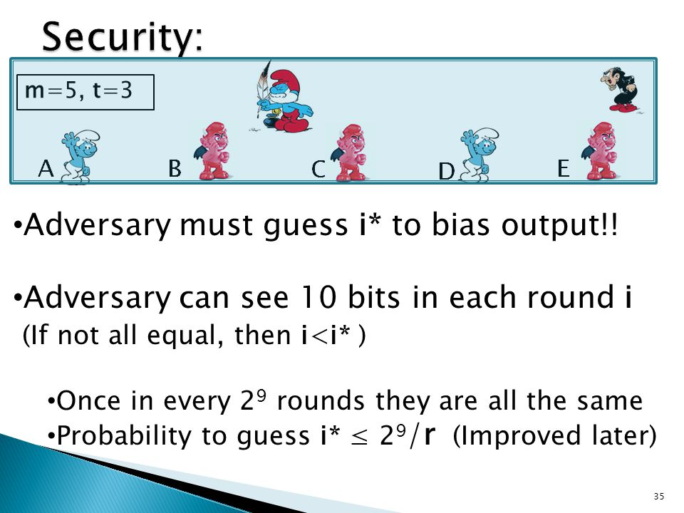 Adversary must guess i* to bias output!.