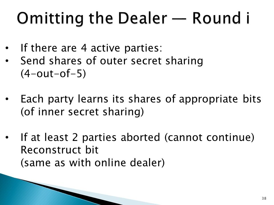 In each round i parties hold the same information as with online dealer (due to outer-secret-sharing) To halt computation (prevent reconstruction) 2 must abort.