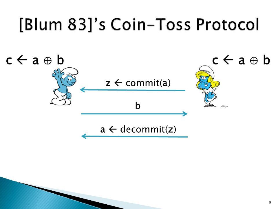 z  commit(a) b a  decommit(z) 8 c  a ⊕ b