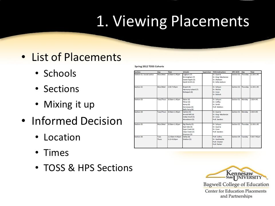 1. Viewing Placements List of Placements Schools Sections Mixing it up Informed Decision Location Times TOSS & HPS Sections