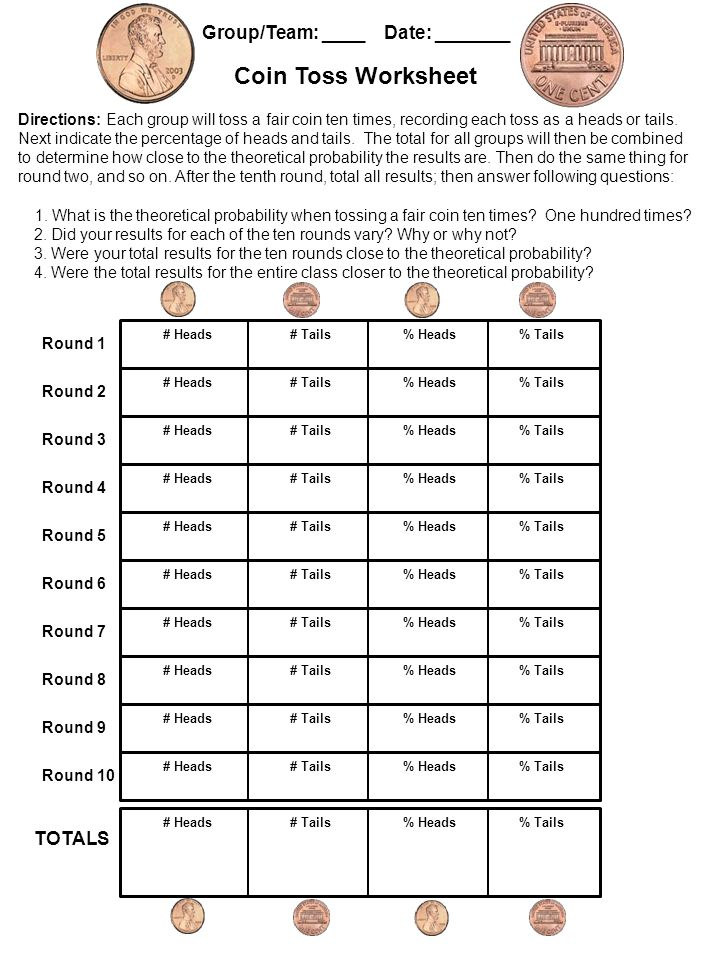Round 1 Directions: Each group will toss a fair coin ten times, recording each toss as a heads or tails.