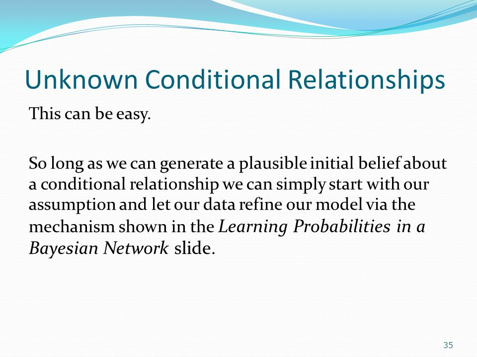 Unknown Conditional Relationships This can be easy.