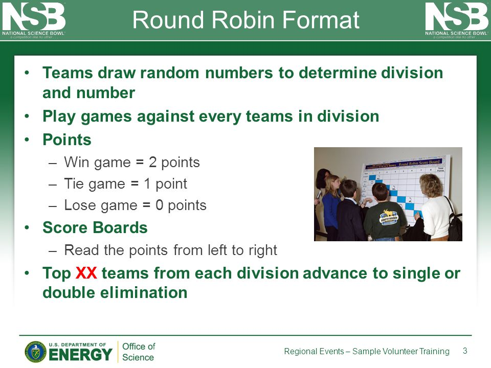 Teams draw random numbers to determine division and number Play games against every teams in division Points –Win game = 2 points –Tie game = 1 point
