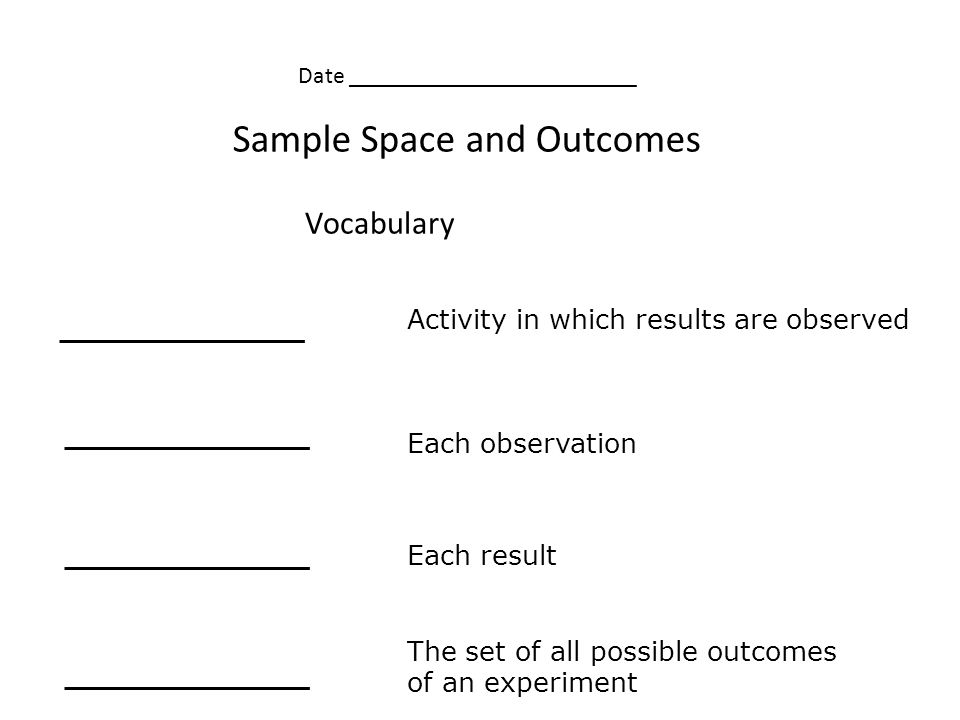 Vocabulary Activity in which results are observed Each observation Each result The set of all possible outcomes of an experiment Sample Space and Outcomes Date ________________________