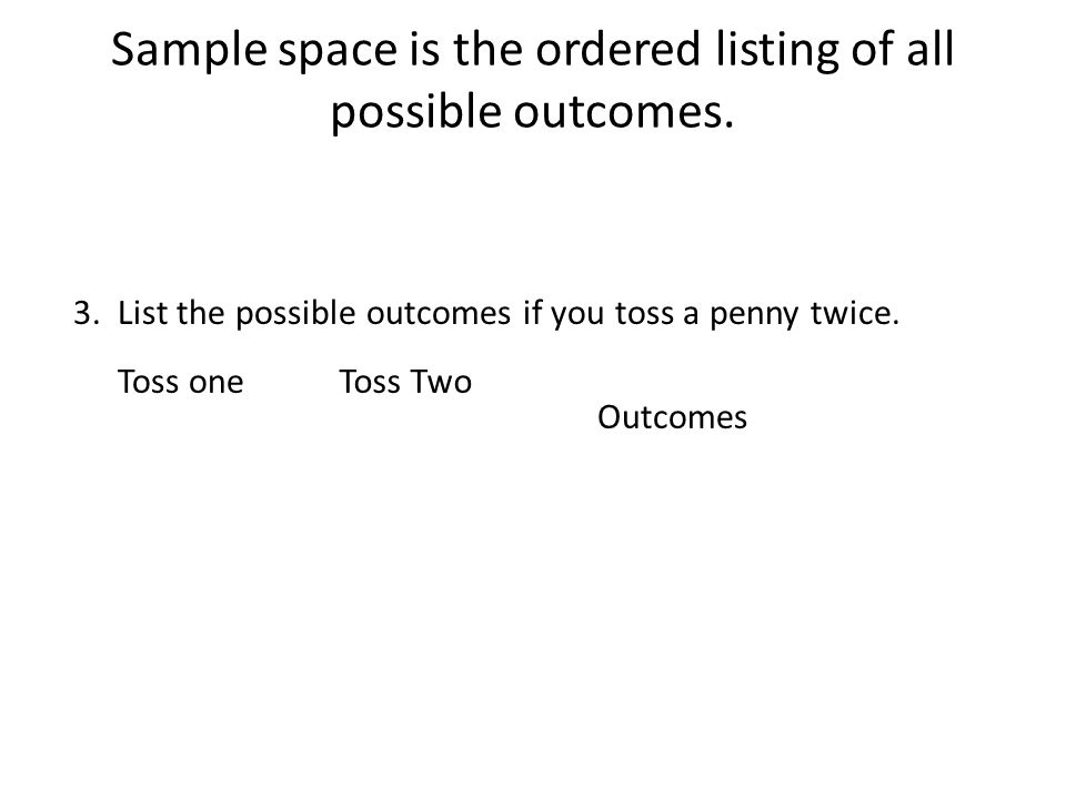 Sample space is the ordered listing of all possible outcomes.