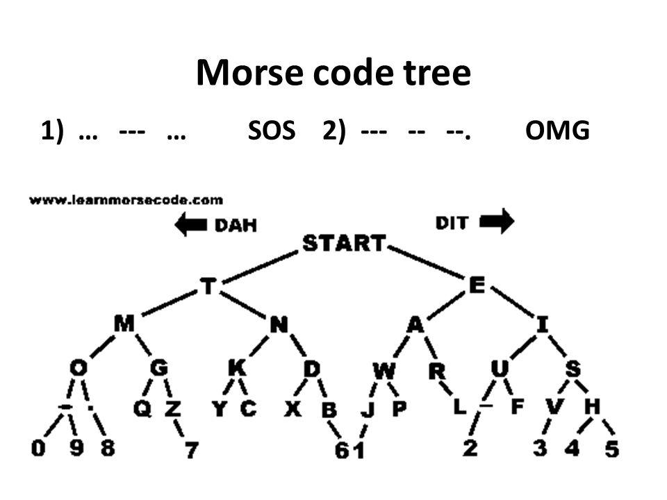 Morse code tree 1)… --- … SOS 2) --- -- --. OMG