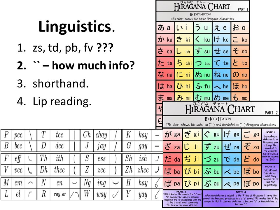 Linguistics. 1.zs, td, pb, fv ??? 2.`` – how much info? 3.shorthand. 4.Lip reading.