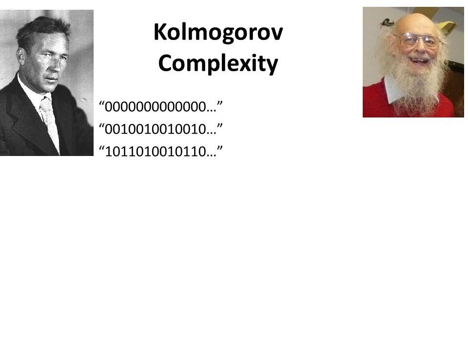 Kolmogorov Complexity 0000000000000… 0010010010010… 1011010010110…