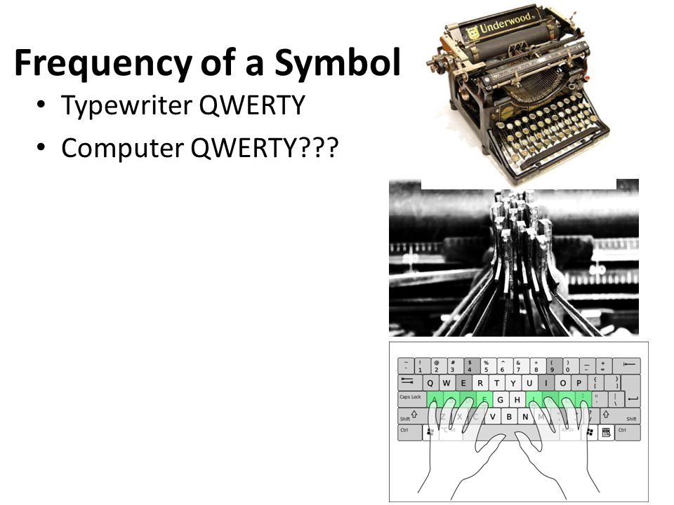 Frequency of a Symbol Typewriter QWERTY Computer QWERTY