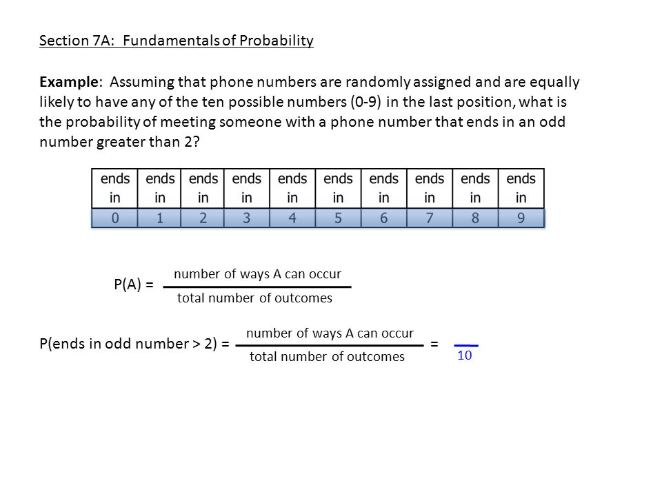 Section 7A: Fundamentals of Probability Example: Assuming that phone numbers are randomly assigned and are equally likely to have any of the ten possi