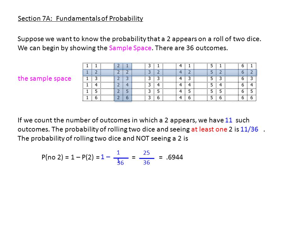Section 7A: Fundamentals of Probability Suppose we want to know the probability that a 2 appears on a roll of two dice.