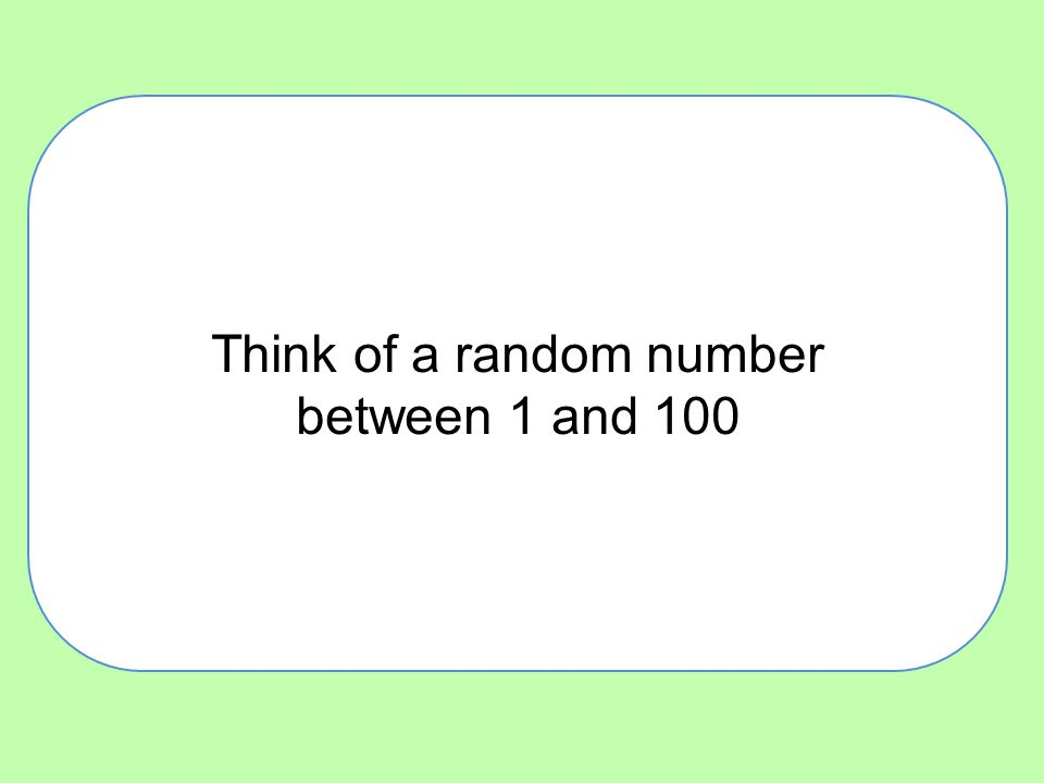 Think of a random number between 1 and 100