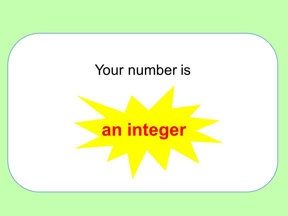 Your number is an integer