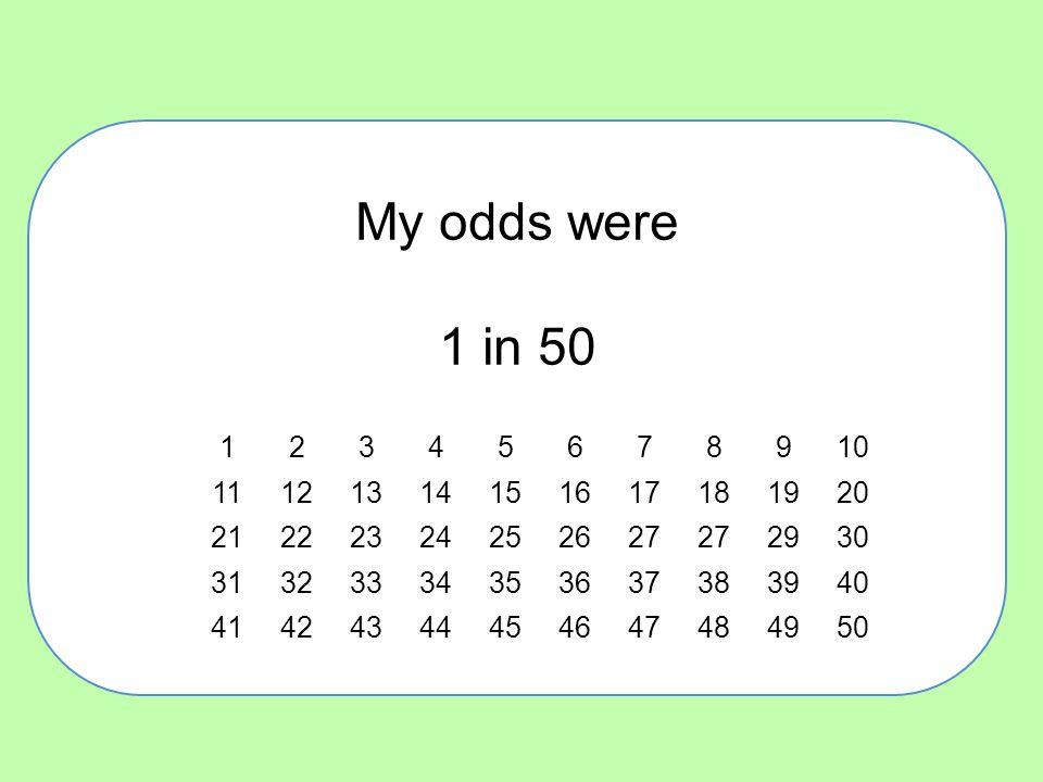 My odds were 1 in 50 12345678910 11121314151617181920 21222324252627 2930 31323334353637383940 41424344454647484950