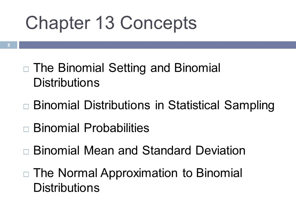 Chapter 13 Concepts 2  The Binomial Setting and Binomial Distributions  Binomial Distributions in Statistical Sampling  Binomial Probabilities  Bi
