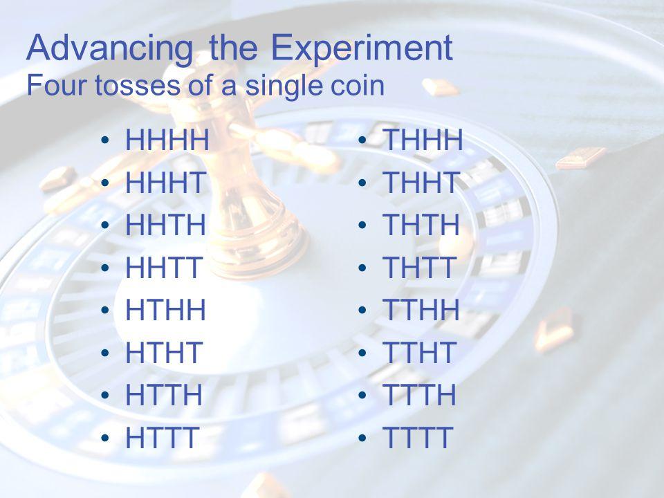 Advancing the Experiment Four tosses of a single coin HHHH HHHT HHTH HHTT HTHH HTHT HTTH HTTT THHH THHT THTH THTT TTHH TTHT TTTH TTTT