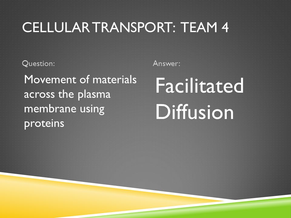 CELLULAR TRANSPORT: TEAM 4 Question:Answer: Movement of materials across the plasma membrane using proteins Facilitated Diffusion