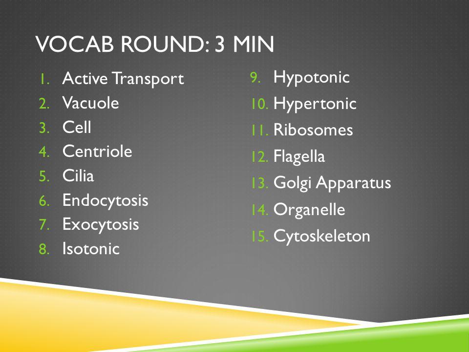 VOCAB ROUND: 3 MIN 1. Active Transport 2. Vacuole 3.