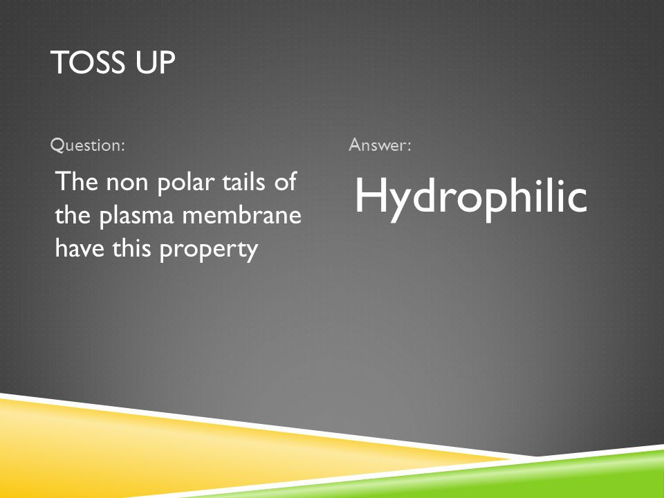 TOSS UP Question:Answer: The non polar tails of the plasma membrane have this property Hydrophilic