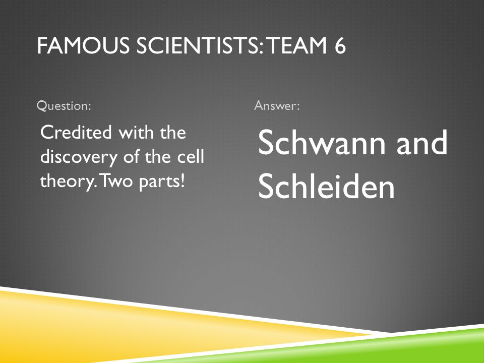 FAMOUS SCIENTISTS: TEAM 6 Question:Answer: Credited with the discovery of the cell theory.