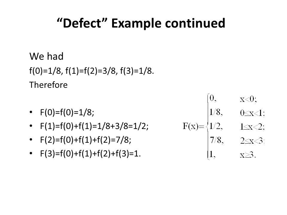 """""""Defect"""" Example continued We had f(0)=1/8, f(1)=f(2)=3/8, f(3)=1/8. Therefore F(0)=f(0)=1/8; F(1)=f(0)+f(1)=1/8+3/8=1/2; F(2)=f(0)+f(1)+f(2)=7/8; F(3"""