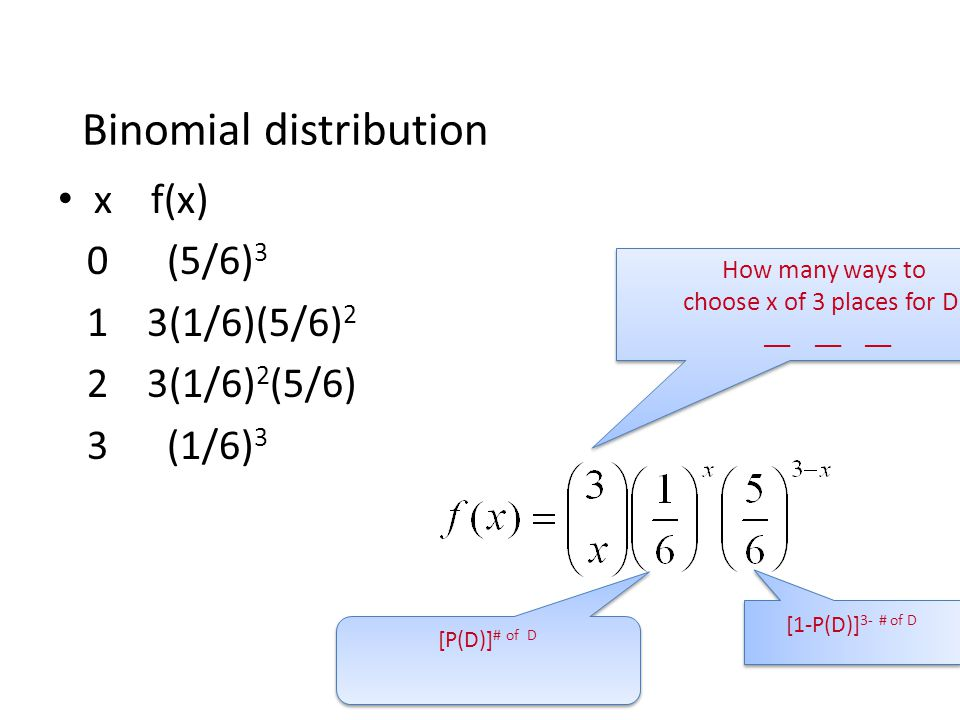 Binomial distribution x f(x) 0 (5/6) 3 1 3(1/6)(5/6) 2 2 3(1/6) 2 (5/6) 3 (1/6) 3 [P(D)] # of D How many ways to choose x of 3 places for D. __ __ __