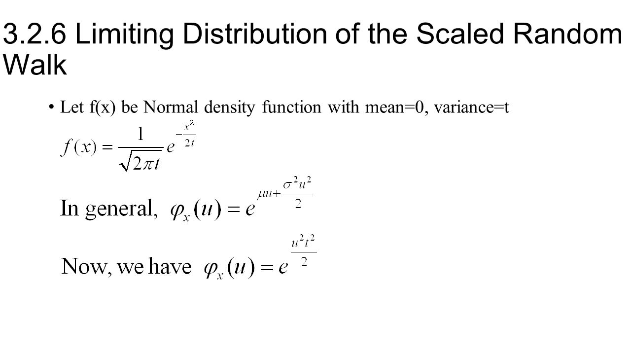 3.2.6 Limiting Distribution of the Scaled Random Walk Let f(x) be Normal density function with mean=0, variance=t