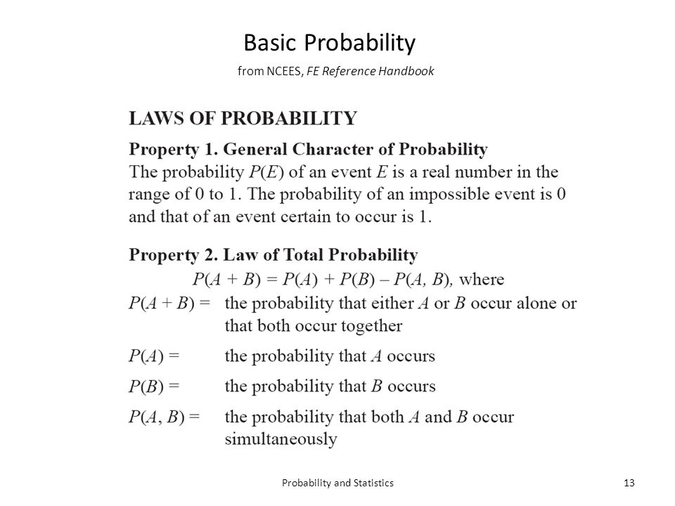 from NCEES, FE Reference Handbook 13Probability and Statistics Basic Probability