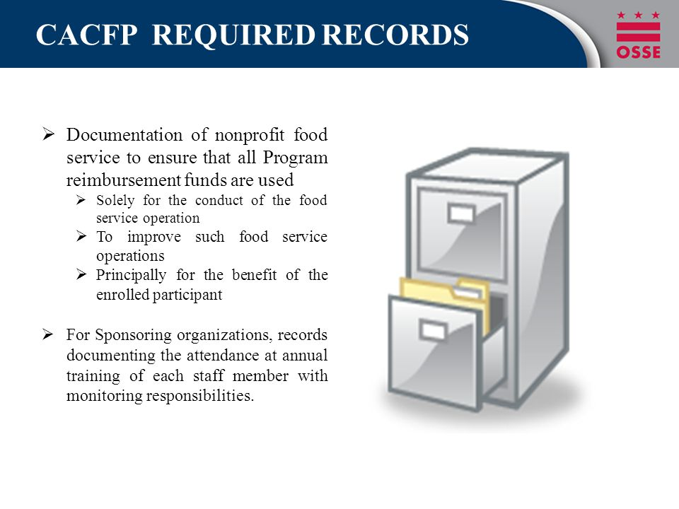 CACFP REQUIRED RECORDS  Documentation of nonprofit food service to ensure that all Program reimbursement funds are used  Solely for the conduct of t
