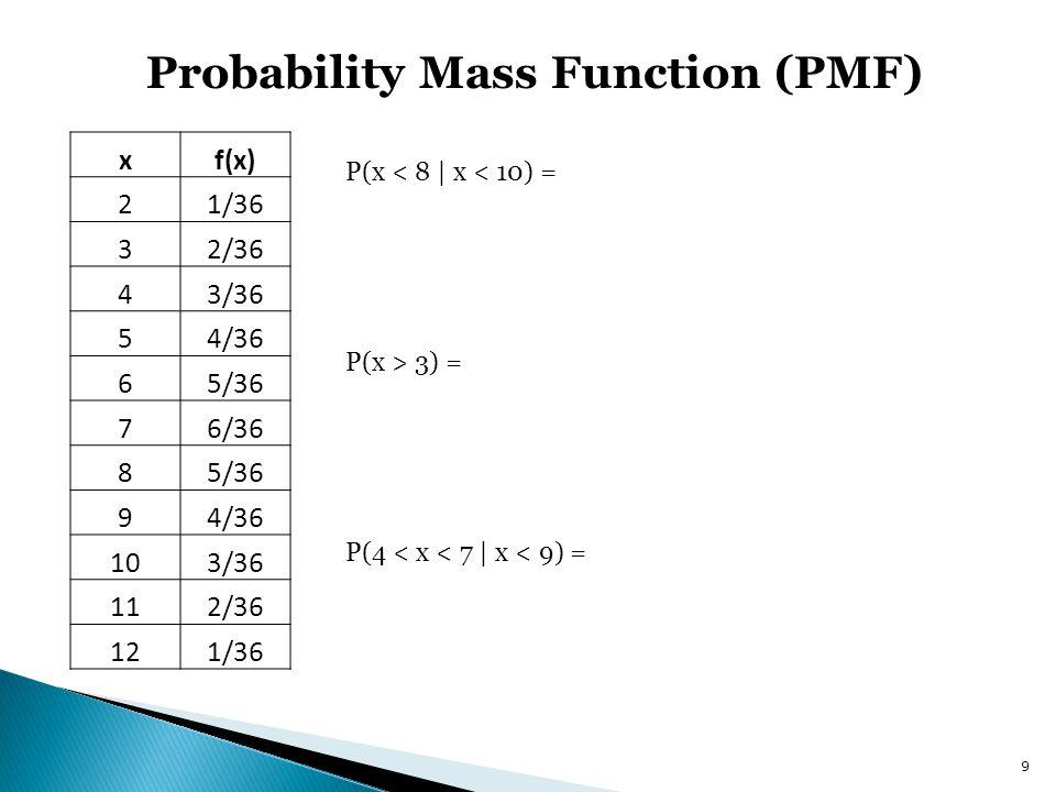 9 Probability Mass Function (PMF) xf(x) 21/36 32/36 43/36 54/36 65/36 76/36 85/36 94/36 103/36 112/36 121/36 P(x < 8 | x < 10) = P(x > 3) = P(4 < x <