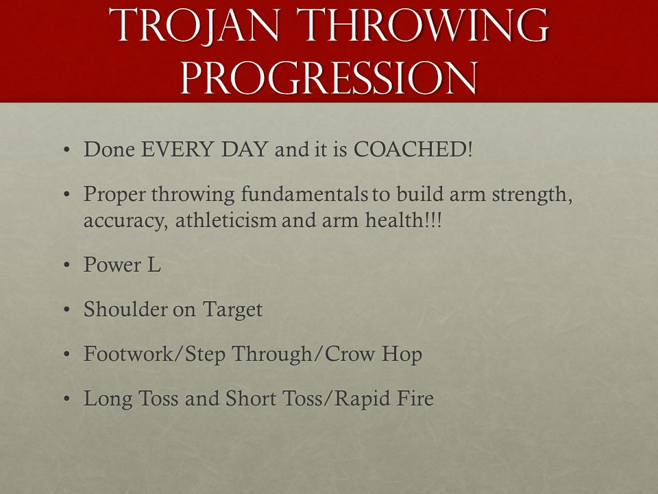 Trojan Throwing Progression Done EVERY DAY and it is COACHED!Done EVERY DAY and it is COACHED.