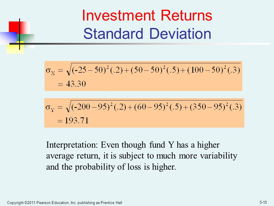 Copyright ©2011 Pearson Education, Inc. publishing as Prentice Hall 5-15 Investment Returns Standard Deviation Interpretation: Even though fund Y has