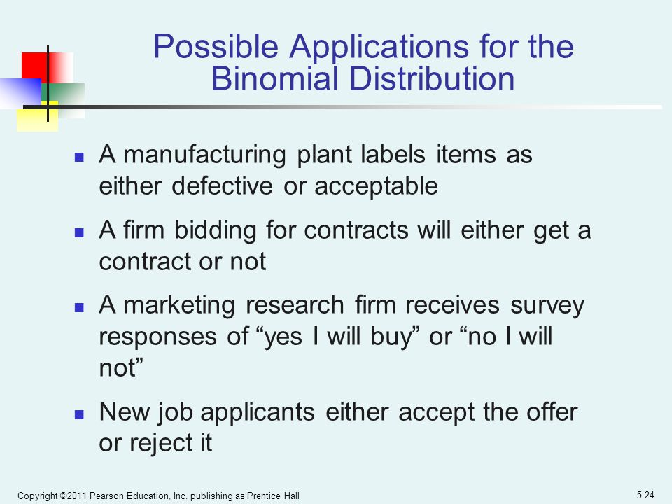 Copyright ©2011 Pearson Education, Inc. publishing as Prentice Hall 5-24 Possible Applications for the Binomial Distribution A manufacturing plant lab