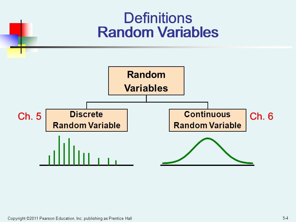 Copyright ©2011 Pearson Education, Inc. publishing as Prentice Hall 5-4 Definitions Random Variables Random Variables Discrete Random Variable Continu