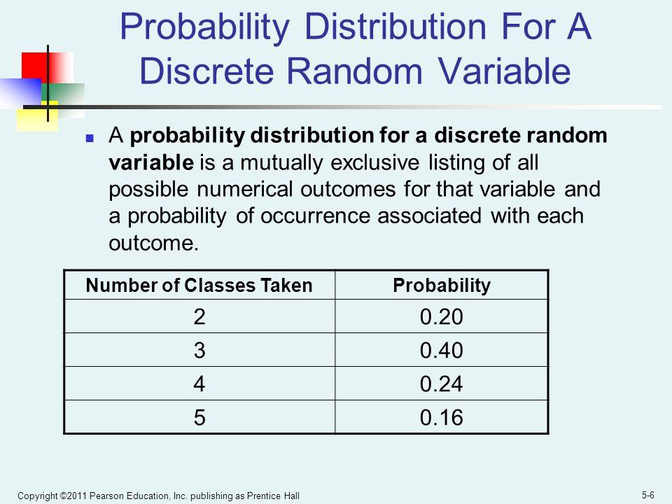 Copyright ©2011 Pearson Education, Inc. publishing as Prentice Hall 5-6 Probability Distribution For A Discrete Random Variable A probability distribu