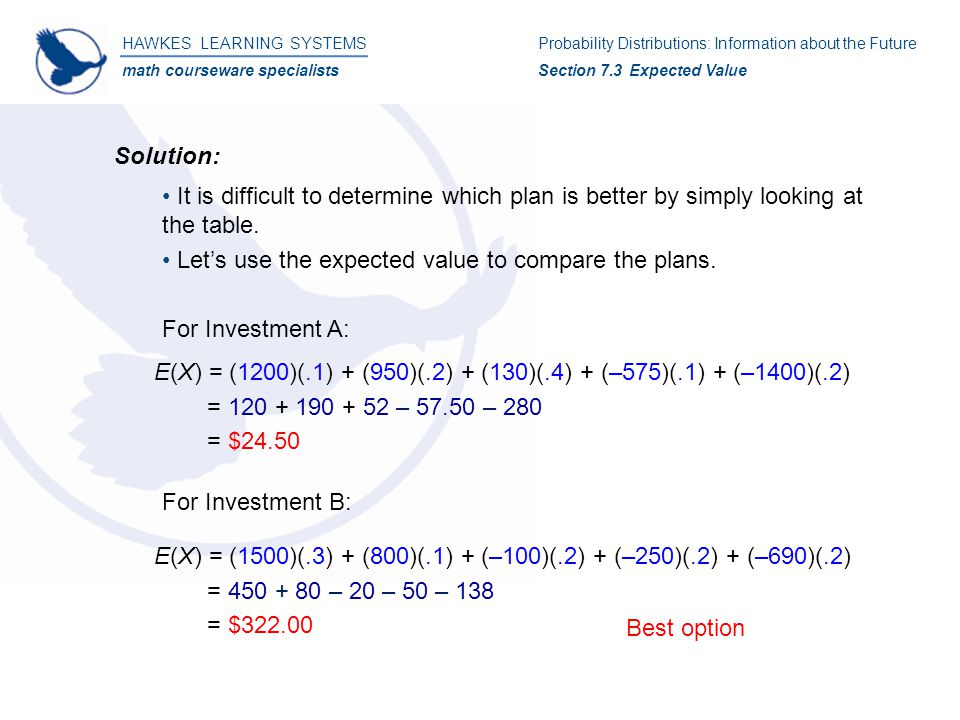 HAWKES LEARNING SYSTEMS math courseware specialists Solution: It is difficult to determine which plan is better by simply looking at the table.