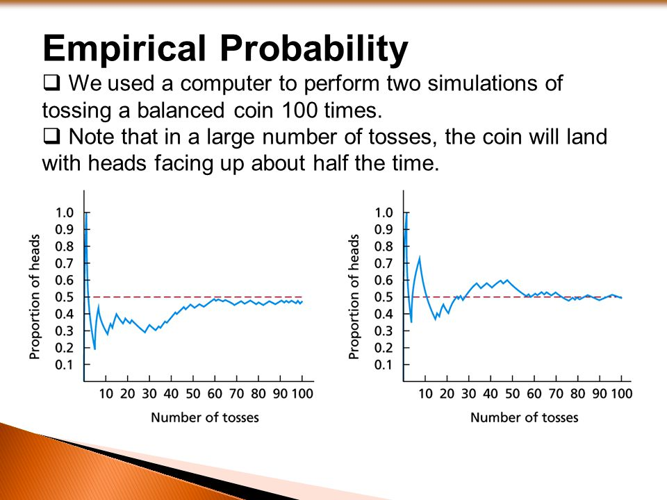 Empirical Probability  We used a computer to perform two simulations of tossing a balanced coin 100 times.  Note that in a large number of tosses, t