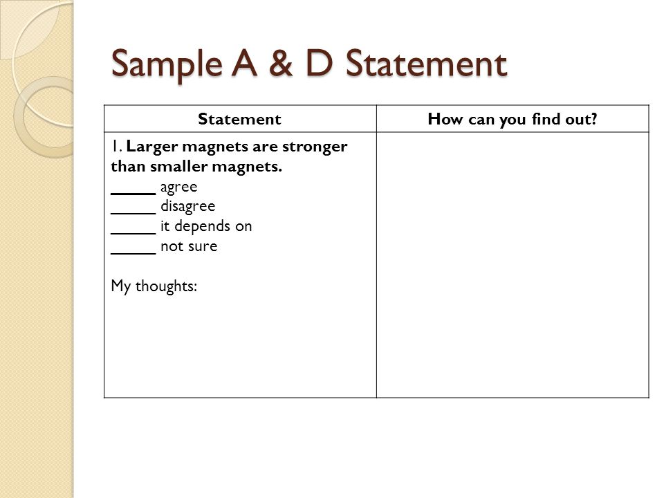 Sample A & D Statement StatementHow can you find out.
