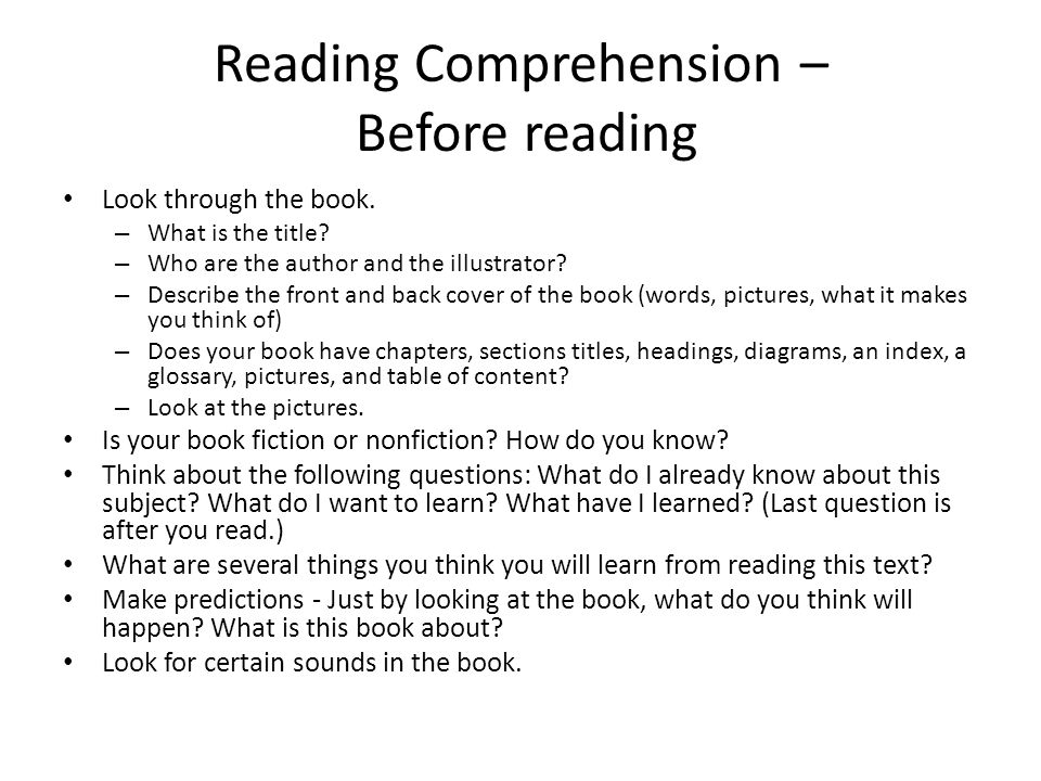 Reading Comprehension – Before reading Look through the book.