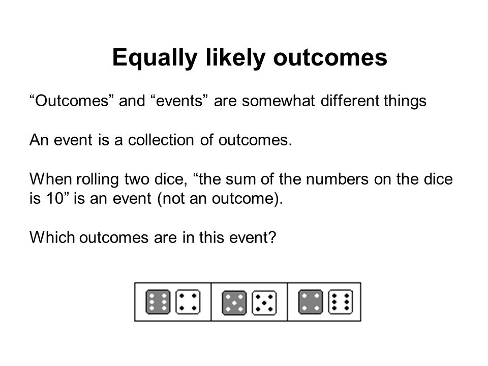 """""""Outcomes"""" and """"events"""" are somewhat different things An event is a collection of outcomes. When rolling two dice, """"the sum of the numbers on the dice"""