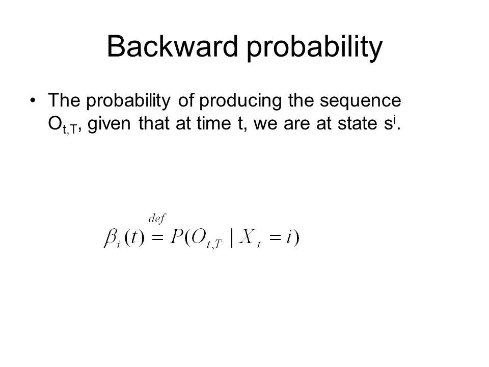 Calculating backward probability Initialization: Induction: