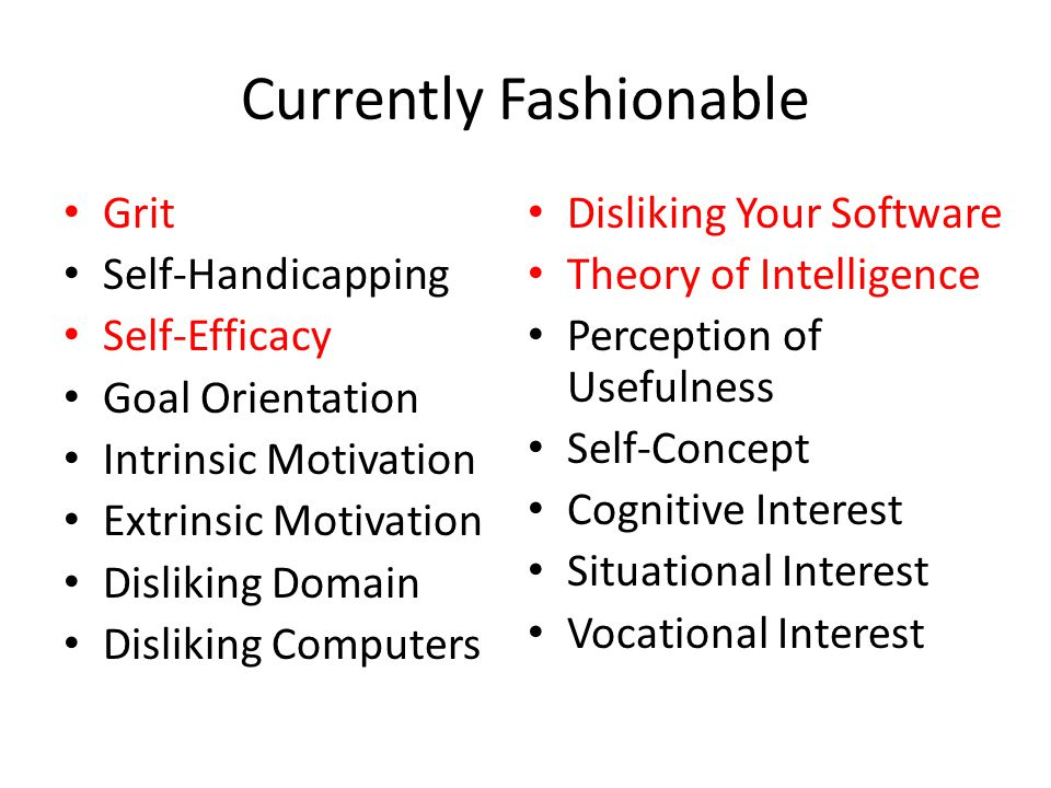 Currently Fashionable Grit Self-Handicapping Self-Efficacy Goal Orientation Intrinsic Motivation Extrinsic Motivation Disliking Domain Disliking Computers Disliking Your Software Theory of Intelligence Perception of Usefulness Self-Concept Cognitive Interest Situational Interest Vocational Interest