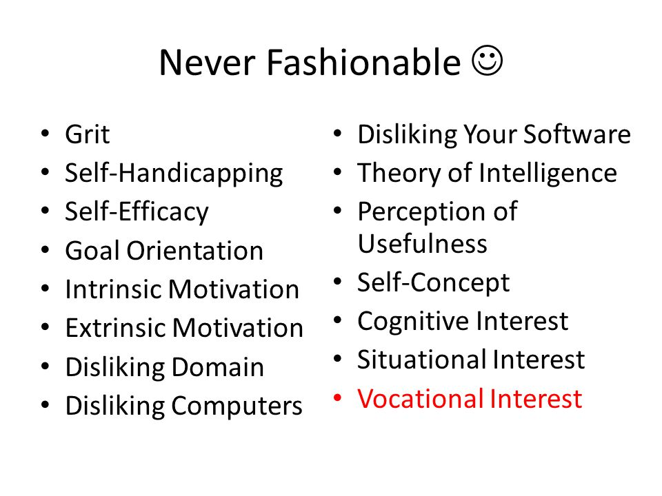 Never Fashionable Grit Self-Handicapping Self-Efficacy Goal Orientation Intrinsic Motivation Extrinsic Motivation Disliking Domain Disliking Computers Disliking Your Software Theory of Intelligence Perception of Usefulness Self-Concept Cognitive Interest Situational Interest Vocational Interest